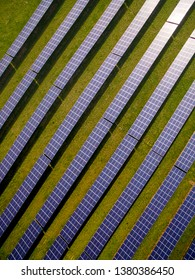 Aerial view of a solar farm in Northamptonshire England UK