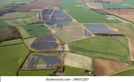 aerial view of a solar farm under construction in the UK