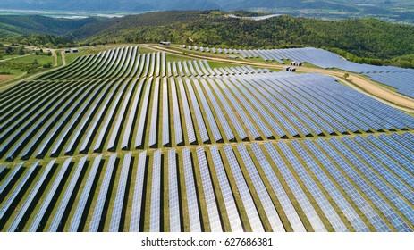 Aerial View of  Solar Panel Park / France la Colle des Mées