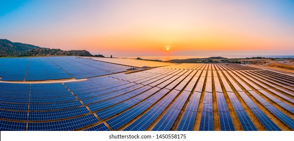 Aerial view of Solar panel, photovoltaic, alternative electricity source - concept of sustainable resources on a sunny day, Phuoc Dinh, Ninh Phuoc, Ninh Thuan, Vietnam - Shutterstock ID 1450558175