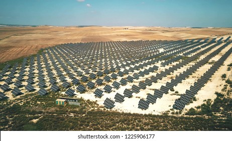 Aerial view of solar panels generating electricity. Andalusia, Spain