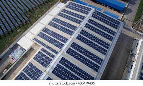 Aerial view of Solar panels on rooftop