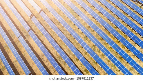 Aerial view of solar panels plant. Concept of clean and renewable energy.