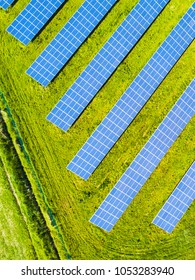 Aerial view of solar panels. Renewable solar energy theme for background. Solar power station from drone view.