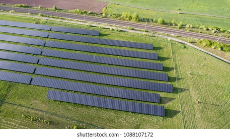 Aerial view of a solar power plant taken by a drone