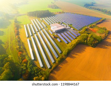 Aerial view to solar power plant. Industry and renewable resources theme.