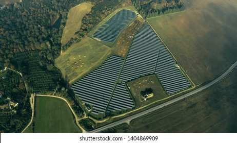 Aerial view of a solar power station and a sheep. Umbria, Italy