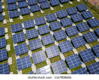 Aerial view of solar power stations plant