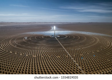 Aerial view of solar thermal plant