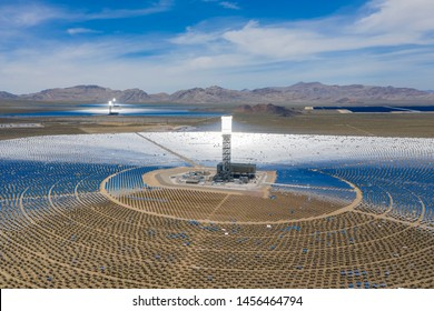 Aerial view of the solar tower of the Ivanpah Solar Electric Generating System at California