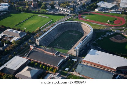 AERIAL VIEW of Soldiers Field, home of Harvard Crimson, Harvard, Cambridge, Boston, MA