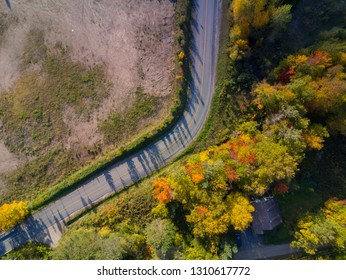 Aerial view of some rural fall color landscape at Quebec, Canada