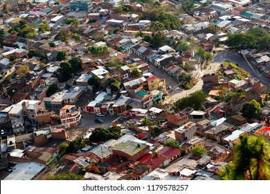 An aerial view of some slums in the city of Tegucigalpa, Honduras