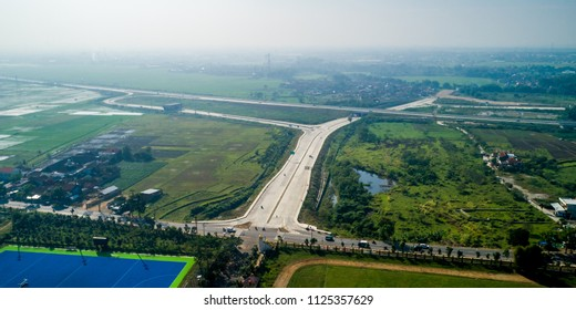 Aerial View of SOROJA (Soreang - Pasir Koja) Toll Road, A new Highway in Bandung, West Java, Indonesia Asia