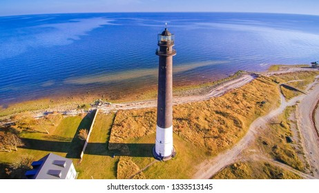 Aerial view of the Sorve lighthouse. The cylindrical concrete lighthouse in Saaremaa Estonia