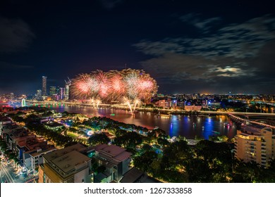 Aerial view of the South Bank fireworks during Christmas, Brisbane, Australia, 2018 December