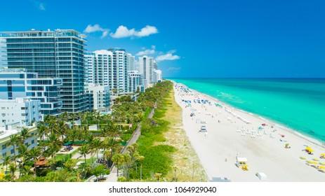 Aerial view of South Beach, Miami Beach, Florida, USA.