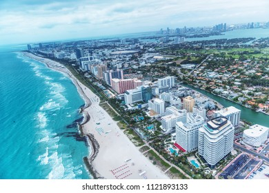 Aerial view of South Beach skyline in Miami at sunset, Florida