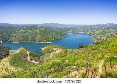 Aerial view of south Berryessa lake from Stebbins Cold Canyon, Napa Valley, California