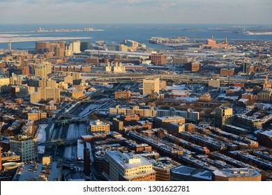 Aerial view of South Boston, Massachusetts Port Authority, and Highway I-90 in winter, Boston, Massachusetts, USA.