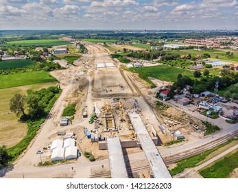 Aerial view of South Bridge construction site over Vistula river, Warsaw