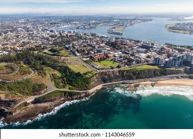 An aerial view of the south end of Newcastle Beach and King Edward Park. Newcastle NSW is one of the largest cities in Australia and has amazing scenery.