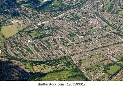 Aerial view of the South London districts of Anerley, Penge and Betts Park with South Norwood Country Park at the very bottom of the image.