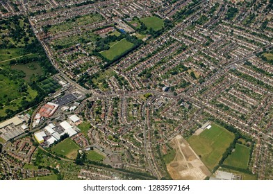 Aerial view of the South London districts of Elmers End and Beckenham on a sunny summer afternoon.