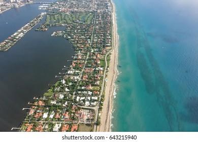 Aerial view of south Palm Beach island, Florida, with Everglades Island.