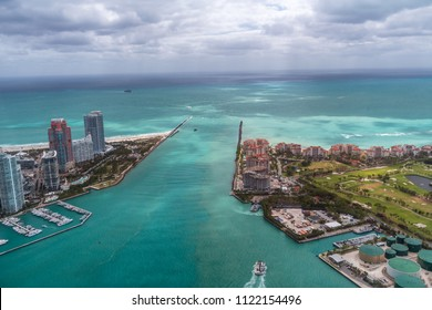 Aerial view of South Pointe Park and Fisher Island, Miami - Florida.