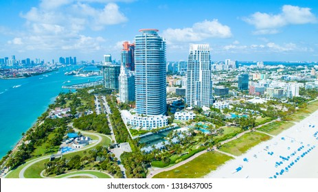 Aerial view of South Pointe Park. Miami Beach. Florida. USA.