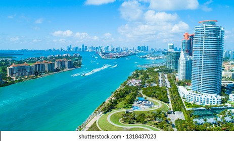 Aerial view of South Pointe Park. Miami Beach. Florida. USA.