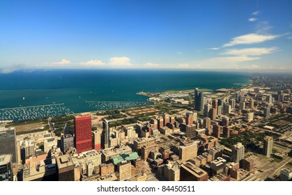 Aerial view of the south side of downtown Chicago and Lake Michigan.