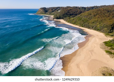 Aerial view of southern end of Dudley Beach one of the many beautiful beaches in the Hunter Region.