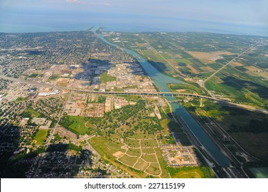 Aerial view of Southern Ontario in sunny day