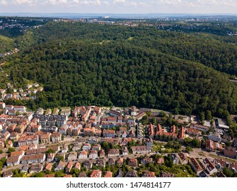Aerial view of the southern parts of Stuttgart towards Degerloch, Asemwald and Moehringen