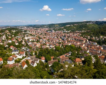 Aerial view of the southern parts and the tv tower of Stuttgart, one of the most important industrial cities in Germany.