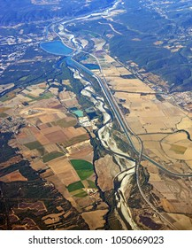 Aerial View of a Southern Provence Rhone Valley, featuring intensive agriculture and irrigation schemes.