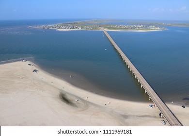 Aerial view of  the Southern Texas shoreline, Galveston Island towards San Luis Pass, United States of America
