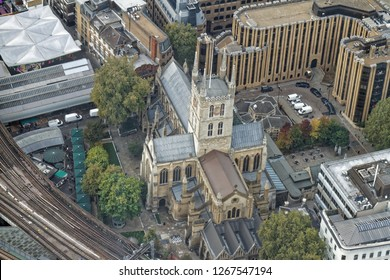 Aerial view of Southwark Cathedral (Anglican church) - London, UK