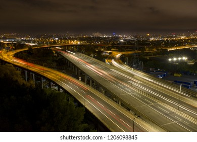 Aerial view of Spaghetti Junction in Birmingham UK at night.