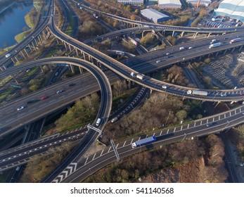 Aerial view of Spaghetti Junction in Birmingham, UK.