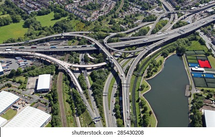 aerial view of Spaghetti Junction near Birmingham, UK