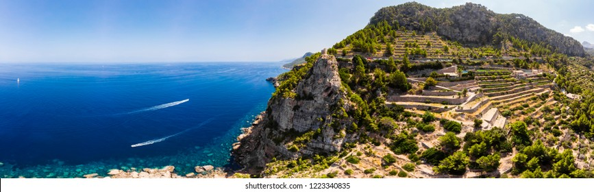 Aerial view, Spain, Balearic Islands, Mallorca, Andratx region, west coast, Tramuntana mountains, Torre del Verger