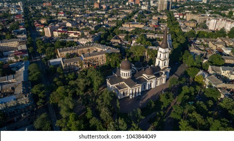 Aerial view of  Spaso-Preobrazhensky Cathedral, Odessa taken from a drone over Cathedral square in summer