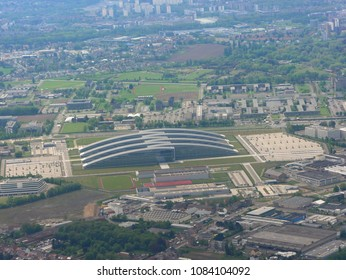 Aerial view of special futuristic shaped office buildings