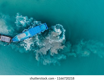 Aerial view of speed boat in jetty wooden pier, Aerial photo, high angle of view, bird eye perspective