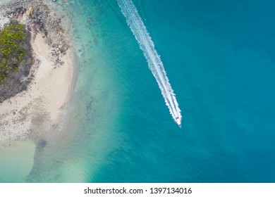 Aerial view of speed boats for island-tropical island tourism.
