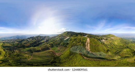 Aerial view spherical stereographic panorama for VR of Phu Tubberk mountian, Lom Kao District, Phetchabun,Thailand