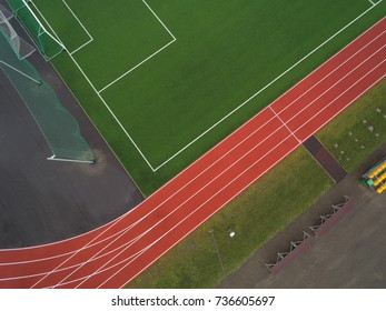 Aerial view of sports field.